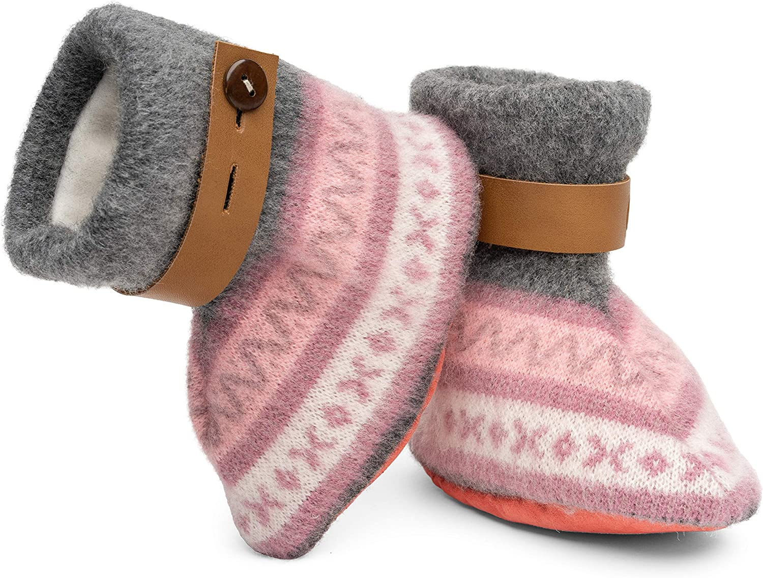 Designer Boots QISU Polar Fleece Baby Booties for Girls and Boys Soft Comfort