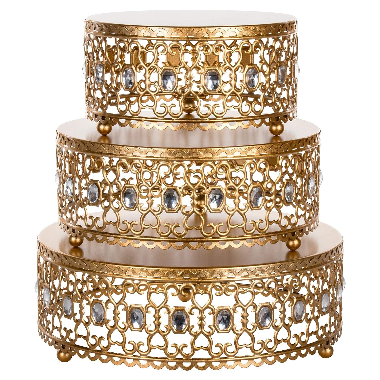 Amalfi Décor 3-Piece Cake Stand Riser Set, Rhinestone Crystal Gem Dessert Cupcake Display Pedestal Jeweled for Weddings Events Birthdays Parties Food Tower Plate (Gold)
