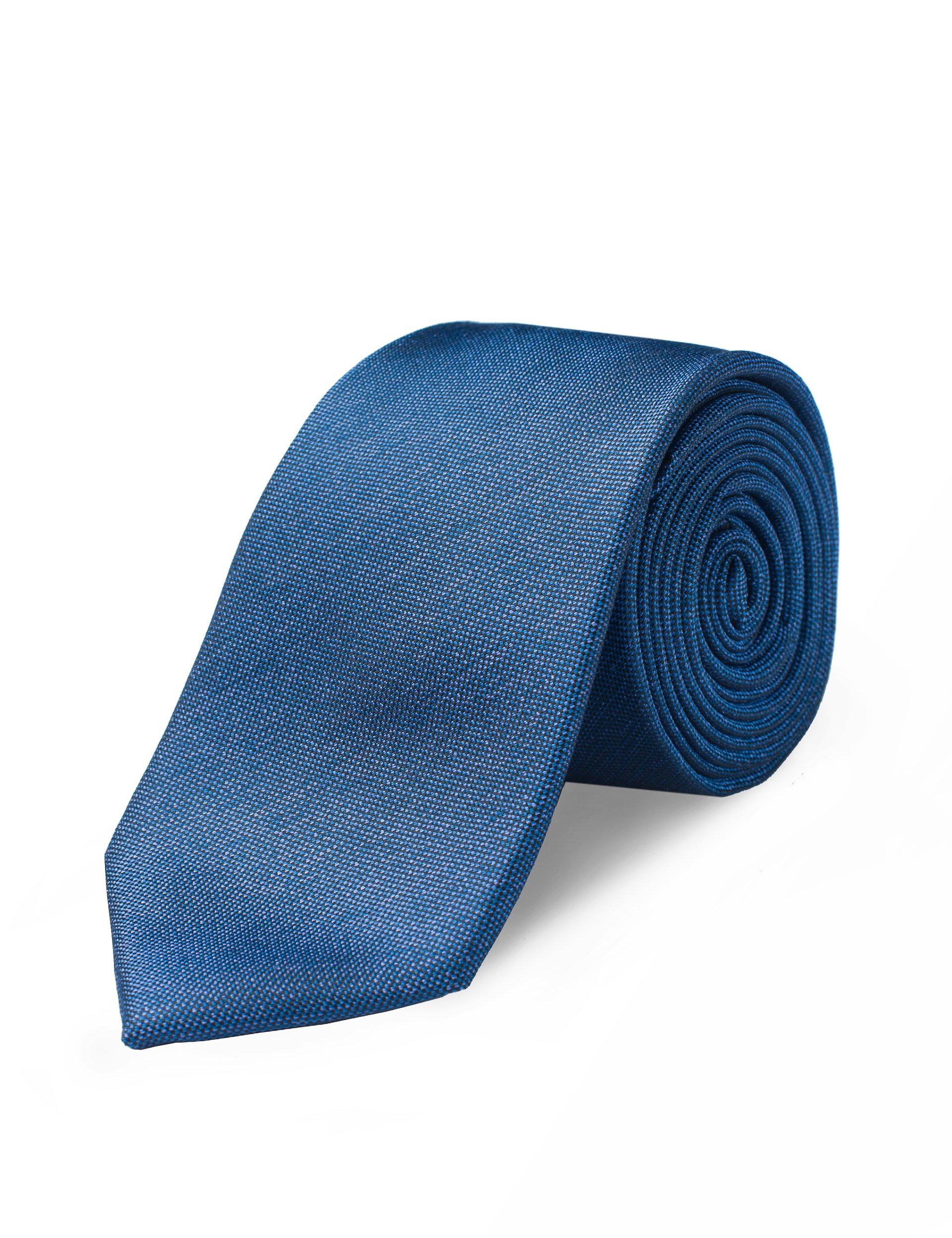 Origin Ties Mens Fashion Handmade 100% Silk Textured 2.5'' Tie Solid Navy Skinny Tie with Gift Box