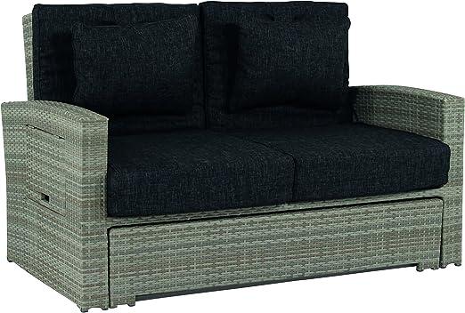 Sofá de jardín Hampton de 2 plazas, extensible, de polirratán ...