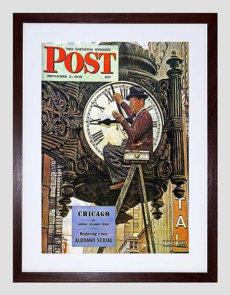 PINTURA diseño de revista reloj reloj escalera Set Tiempo impresión enmarcada B12 X 9896 12 x 16 in - 30.5 x 40.7 cm marrón: Amazon.es: Hogar