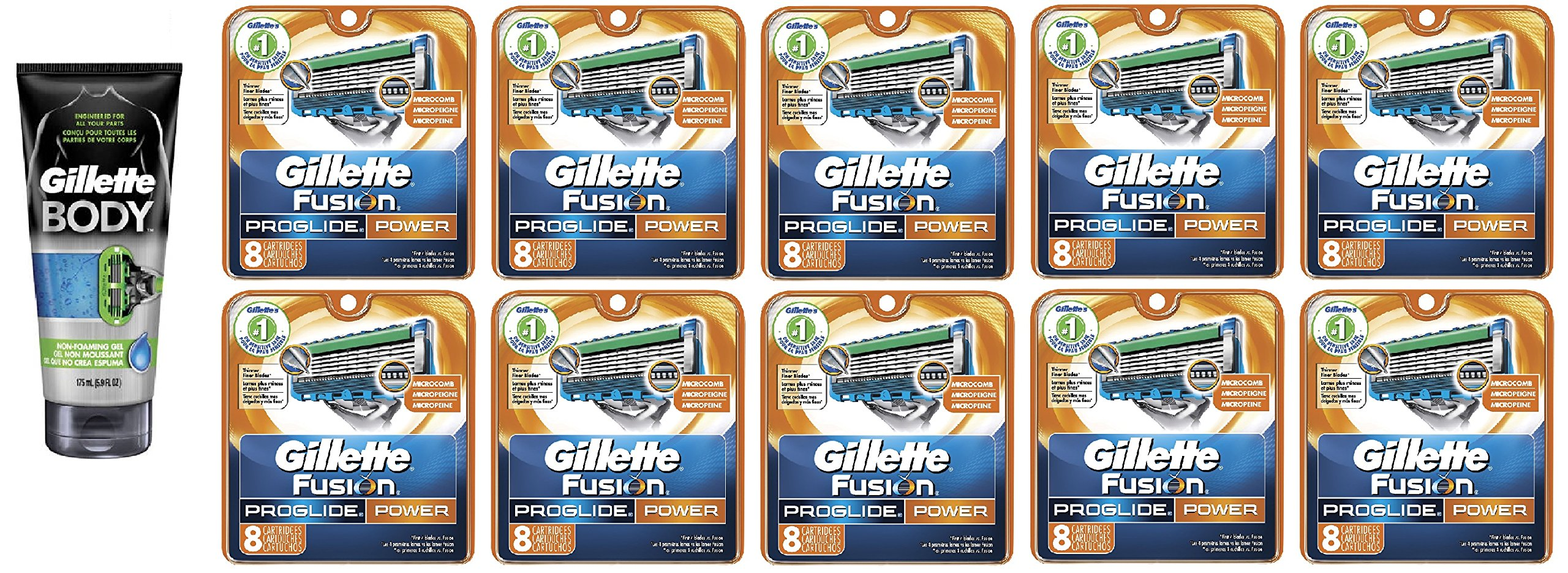 Gillette Body Non Foaming Shave Gel for Men, 5.9 Fl Oz + Fusion Proglide Power Refill Blades 8 Ct (10 Pack) + FREE Travel Toothbrush, Color May Vary