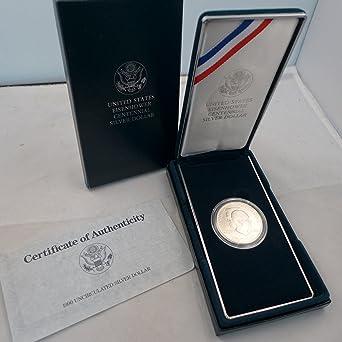 1990 U.S Eisenhower Centennial Uncirculated Silver Dollar with Box /& COA
