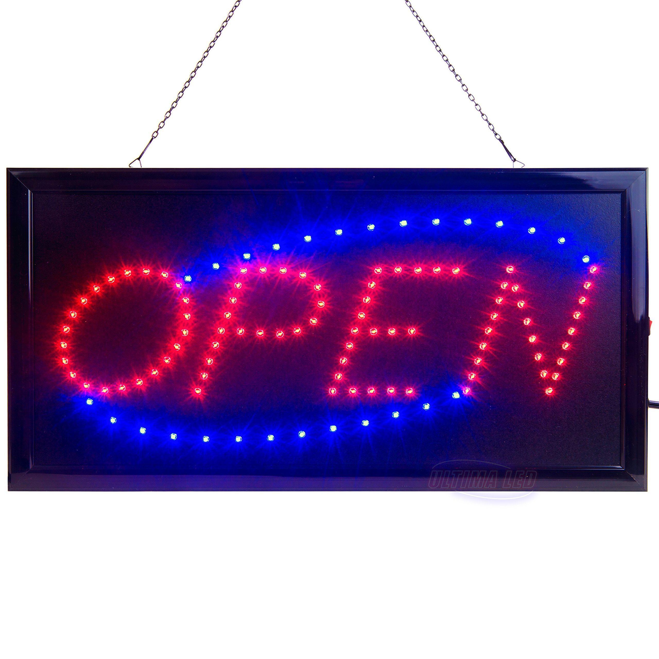 LED Open Sign for Business Displays: Electric Light up Sign Open with 2 Flashing Modes   Lighted Signs for Shops, Hotels, Liquor Stores   No use of Toxic Neon (19'' x 10'', Model 2)