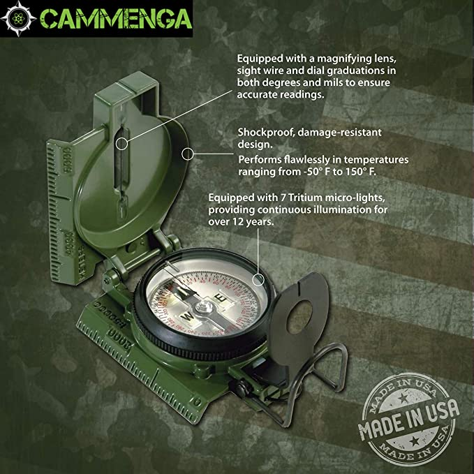 Hiking Military Camping Navigation Orienteering British Lensatic Metal Compass