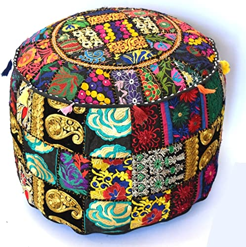 khushvin Indian Handmade Ottoman Cover Sari Patchwork Pouf Round Ottoman Pouf Decorative Foot Stool 22×14
