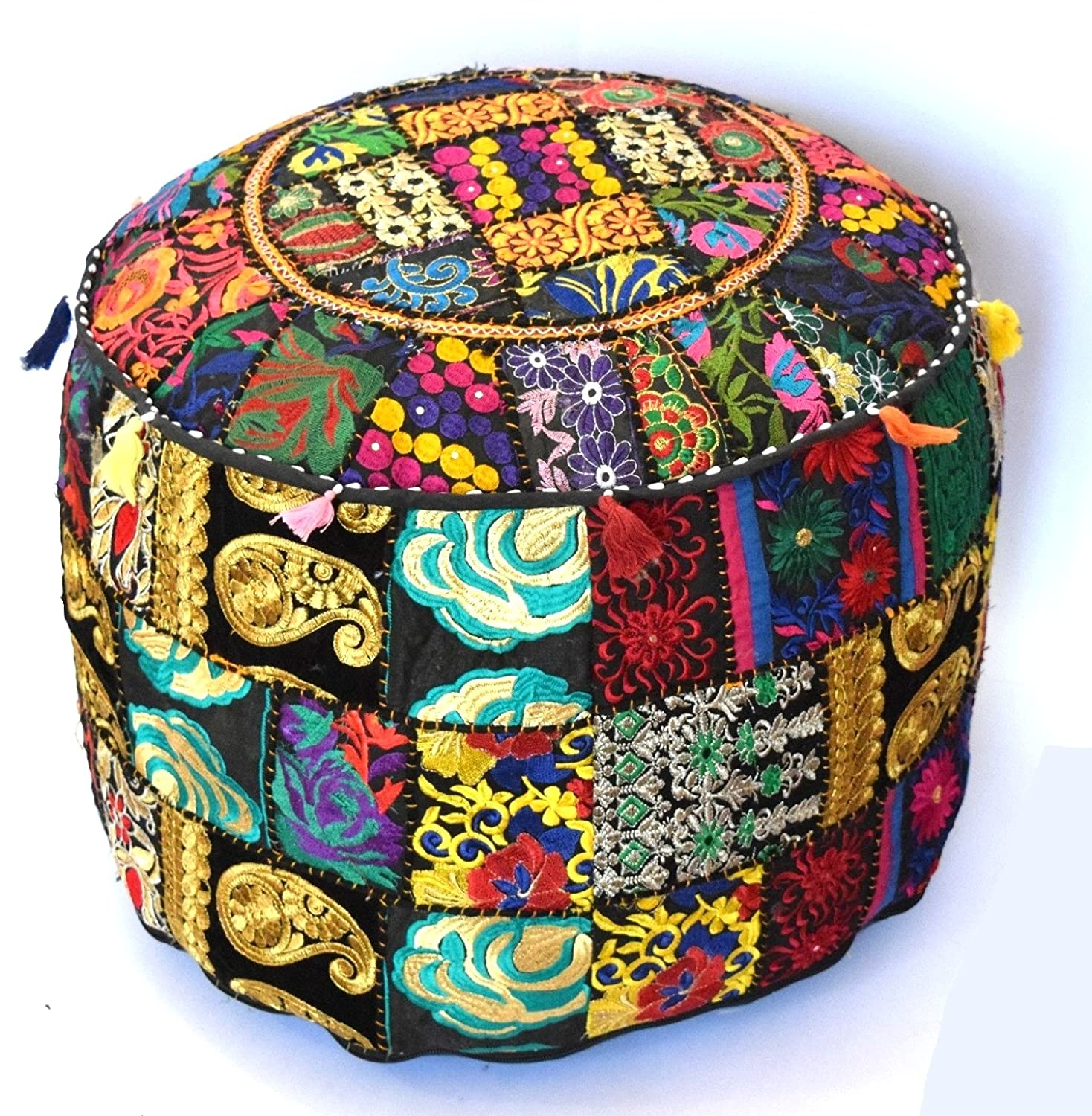 khushvin Indian Handmade Ottoman Cover Pouf Decorative Foot Stool 18x14Sari Patchwork Pouf Round Ottoman