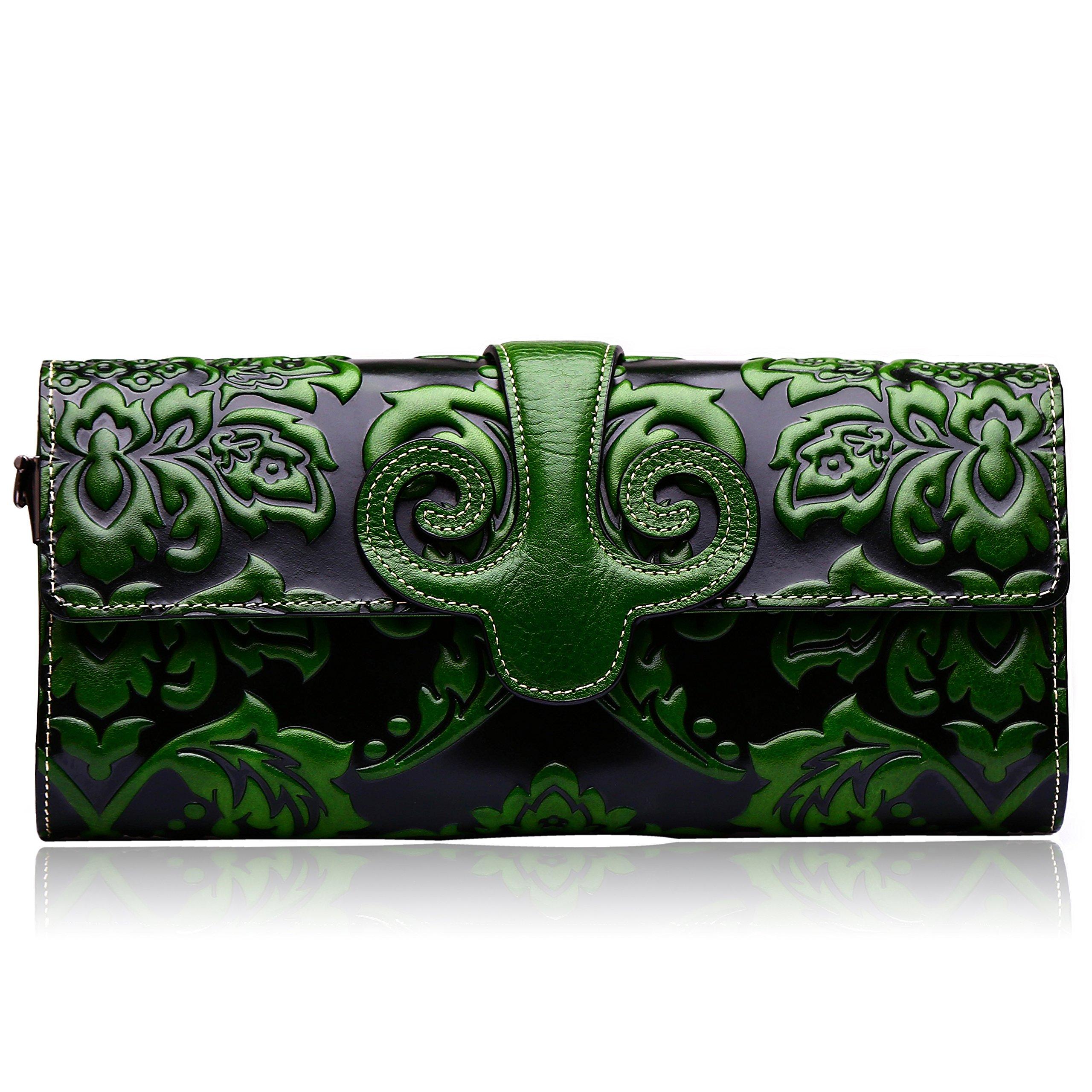 Naisibao Vintage Floral Artisan Leather Handmade Clutch Convertible Crossbody Designer Gift for Women