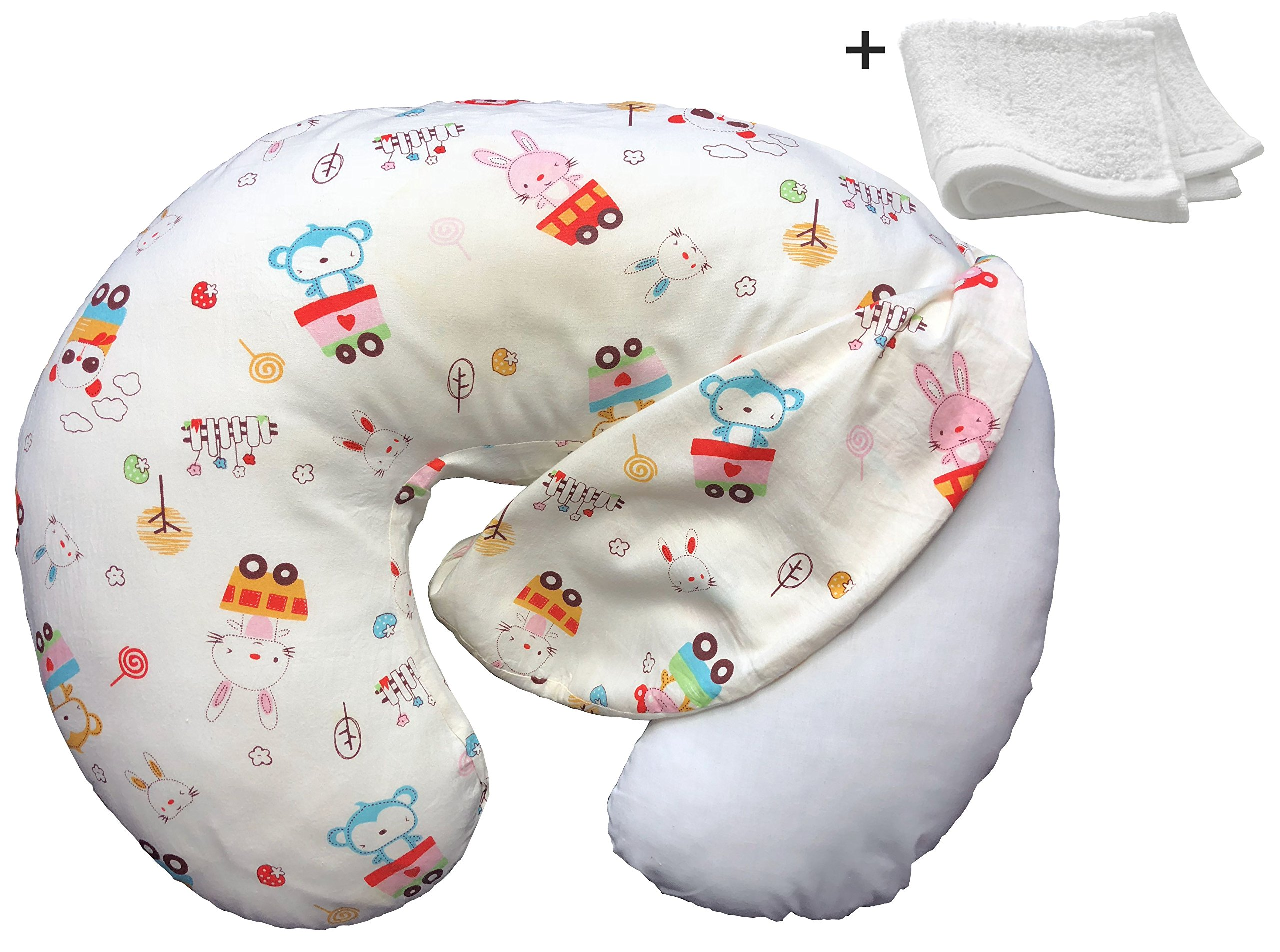 Nursing Pillow Cover Hypoallergenic for Newborn Girls and Boys, Breastfeeding Moms Slipcover Cushion Case + Soft Washcloth + Digital Bedtime Story by Mafflo