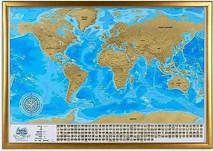 Mapa del mundo para rascar con marco, mapa de viaje grande para rascar en marco, 86