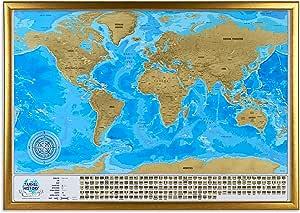 Mapa del mundo para rascar con marco, mapa de viaje grande para rascar en marco, 86 x 60 x 3 cm, regalo original, mapa de viaje familiar y aventuras personales, mapa de