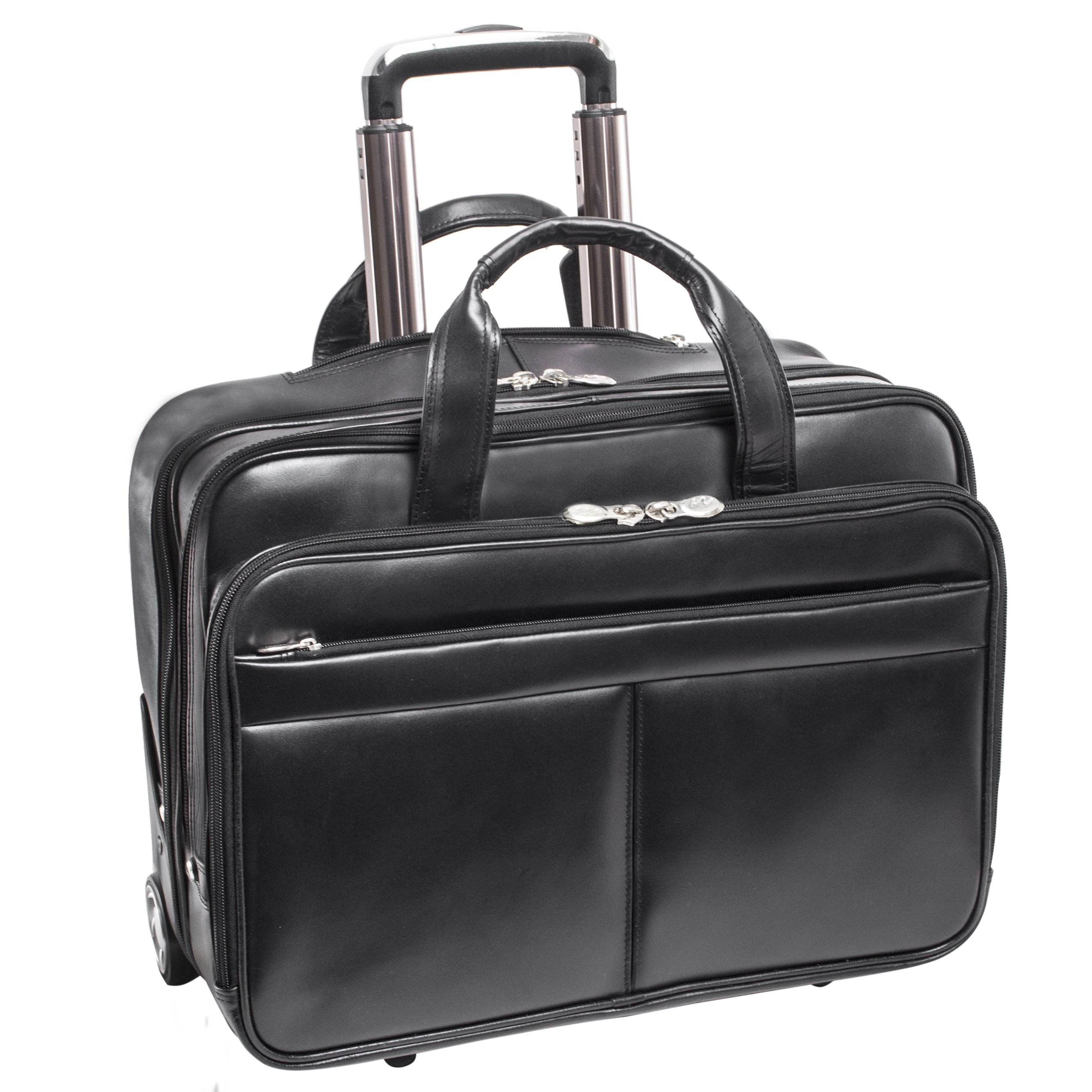 McKlein, L Series, Bowery, Top Grain Cowhide Leather, 15'' Leather Wheeled Laptop Briefcase, Black (87855)