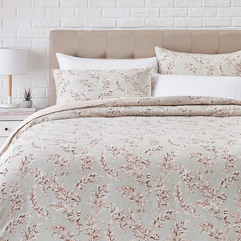 AmazonBasics Super-Soft Cotton Duvet Comforter Cover Set - Full/Queen, Pink Leaves