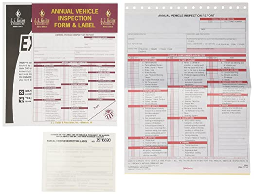 AmazonCom JJ Keller  Annual Vehicle Inspection Report And