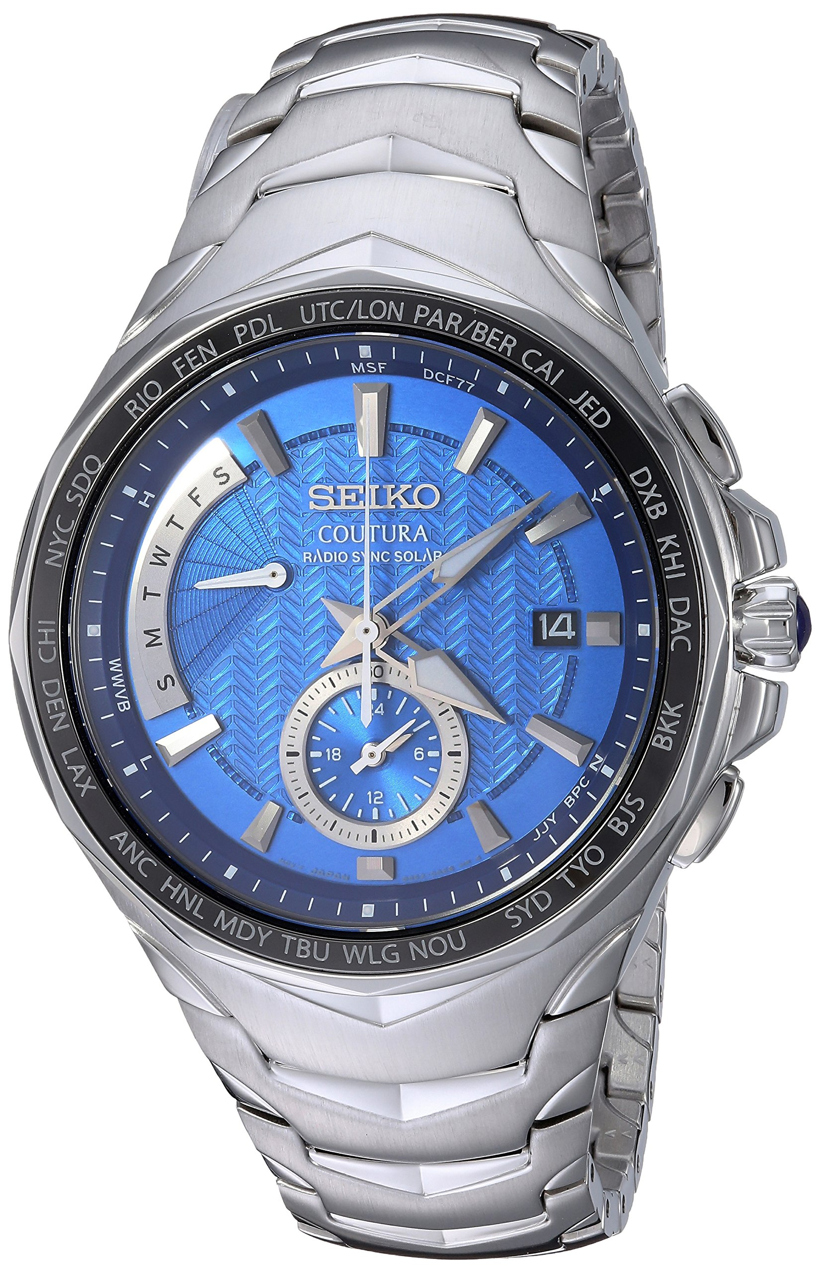Seiko Men's COUTURA Japanese-Quartz Watch with Stainless-Steel Strap, Silver, 24 (Model: SSG019) by SEIKO