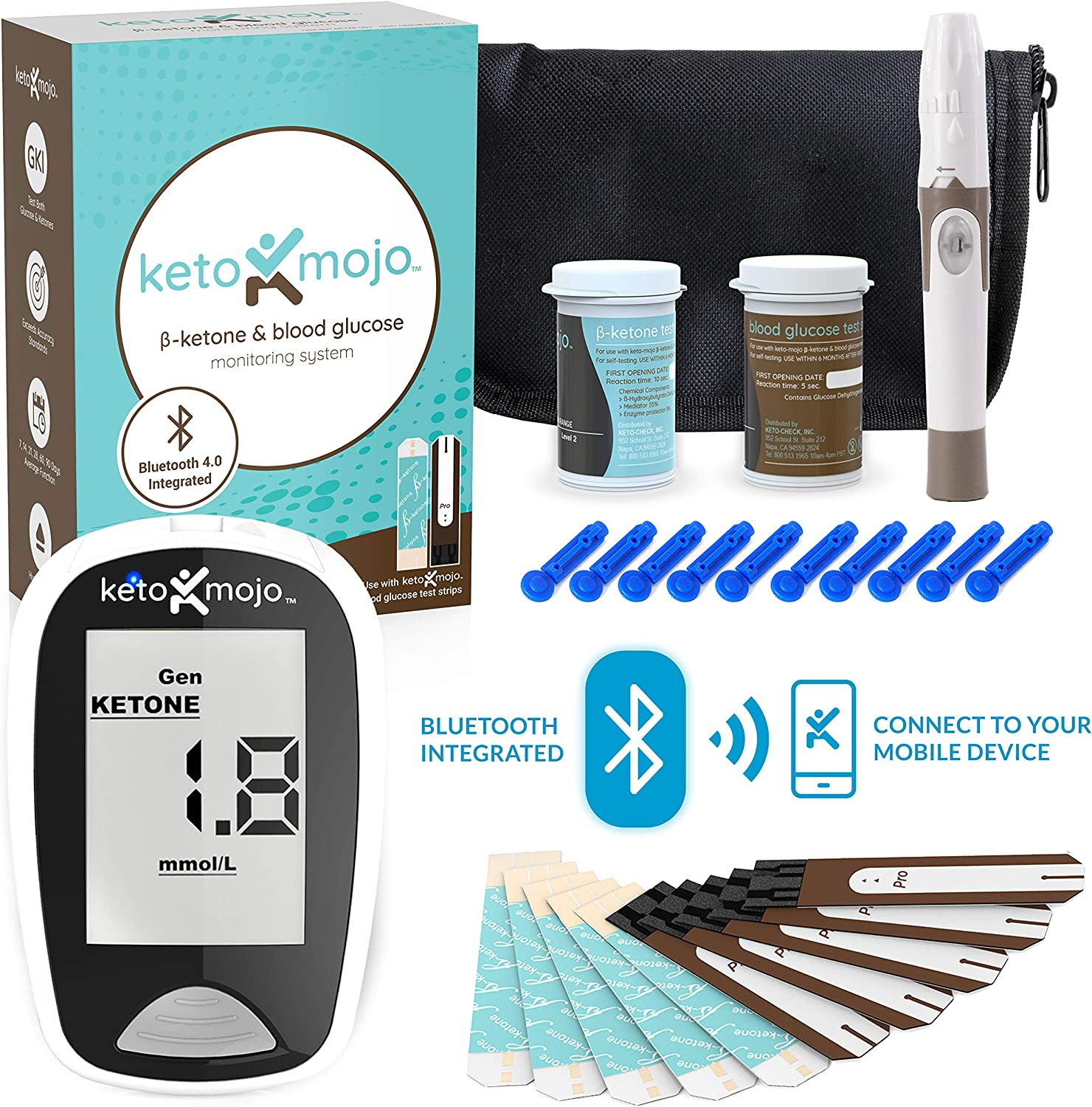 KETO-MOJO Blood Ketone and Glucose Testing Kit, 1 Meter, 10 Ketone & 10 Glucose Test Strips,1 Lancing Device, 10 Lancets, Monitor Your Ketogenic Diet