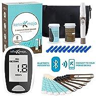 KETO-MOJO Bluetooth Blood Ketone and Glucose Testing Kit –10 Ketone & 10 Glucose Test Strips, 10 Lancets, 1 Meter, 1 Lancing Device, Monitor Your Ketogenic Diet