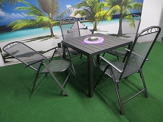 Juego de 5 Lujo Metal Aluminio polywood Muebles de Jardín Grupo de ...