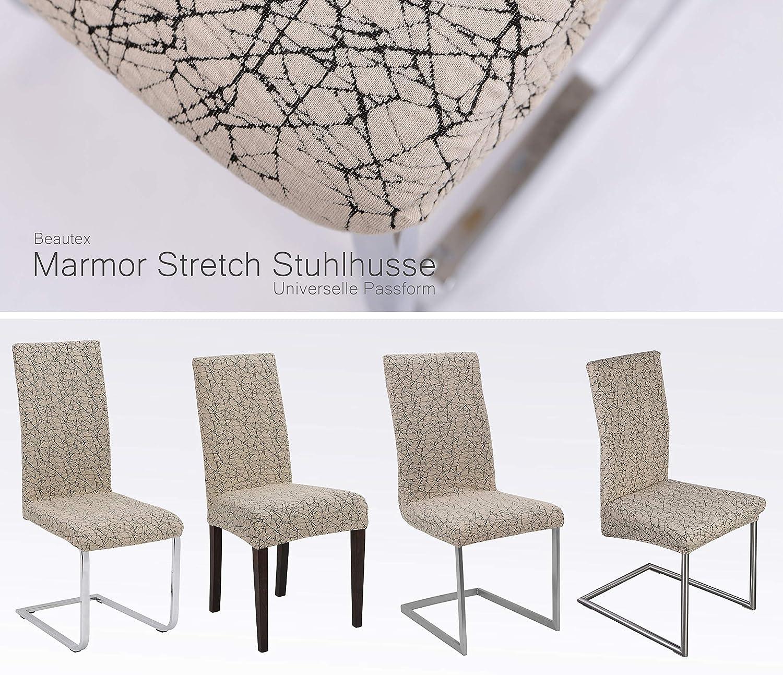 BEAUTEX 2er Set universal Stretch Stuhlhusse Motiv und Farbe w/ählbar Antonella Beige elastische Husse Bi-Elastic