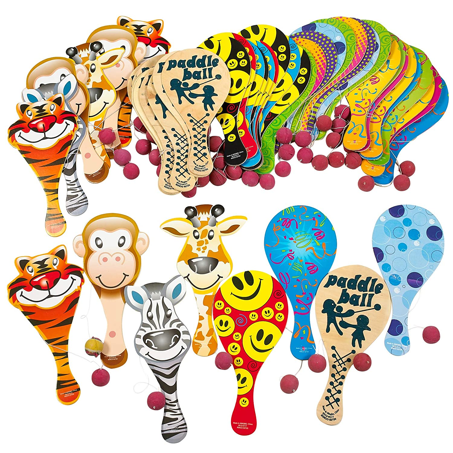 Assortments May Vary Party Favors Colorful Kicko 9 Inches Paddle Ball Assortment 6 Pieces Party Prizes for Children Games or Adults 6 Pack