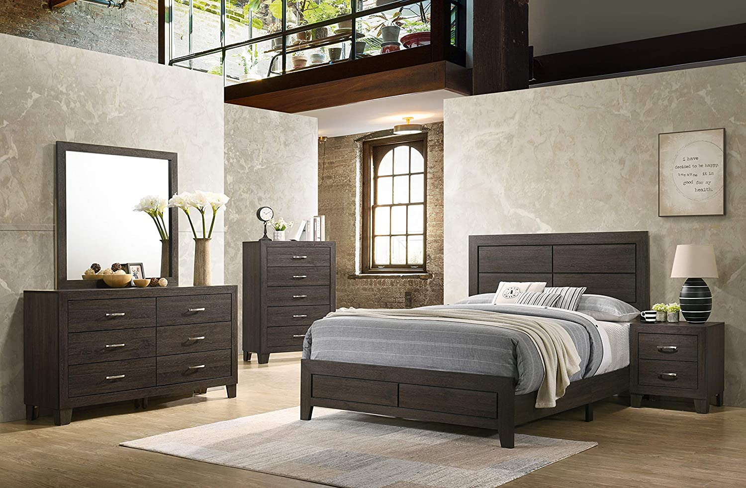 K-Living Veronica Solid Wood Chest in Espresso Finish