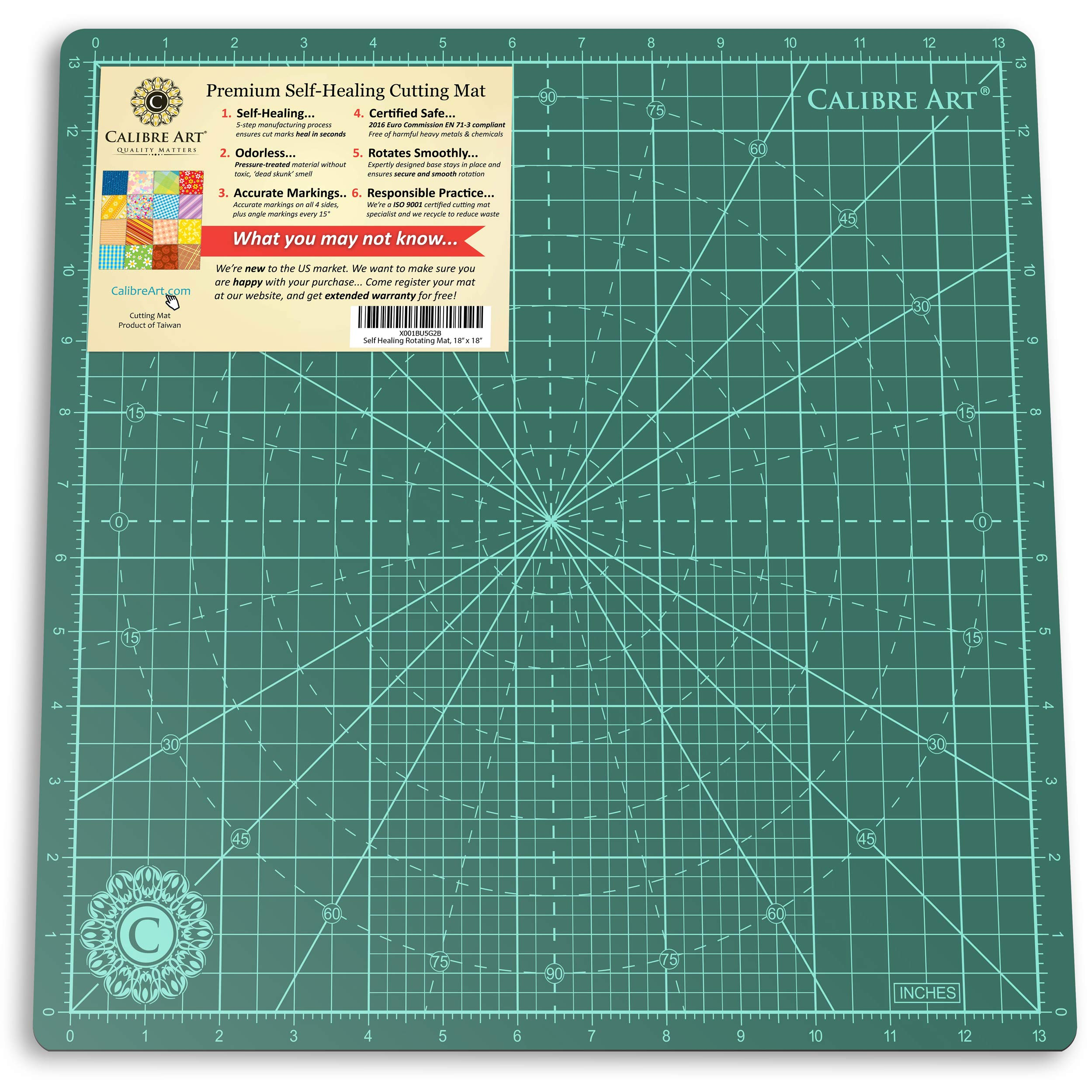 Calibre Art Rotating Self Healing Cutting Mat, Perfect for Quilting & Art Projects, 14x14 (13'' grid)