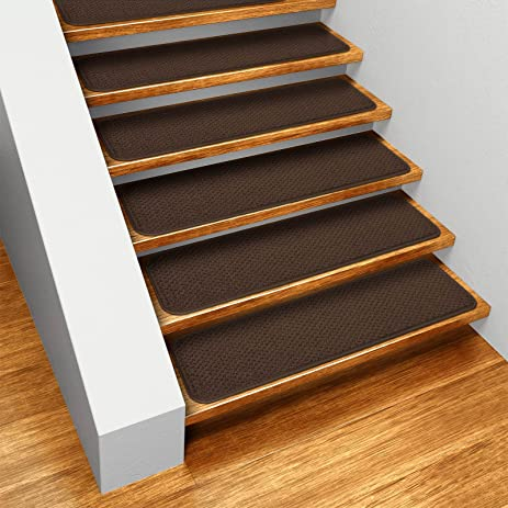 Set Of 15 Skid Resistant Carpet Stair Treads   Chocolate Brown   8 In.