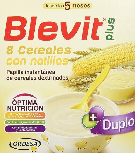Blevit Plus Duplo 8 Cereales con Natilla - Paquete de 2 x 300 gr - Total