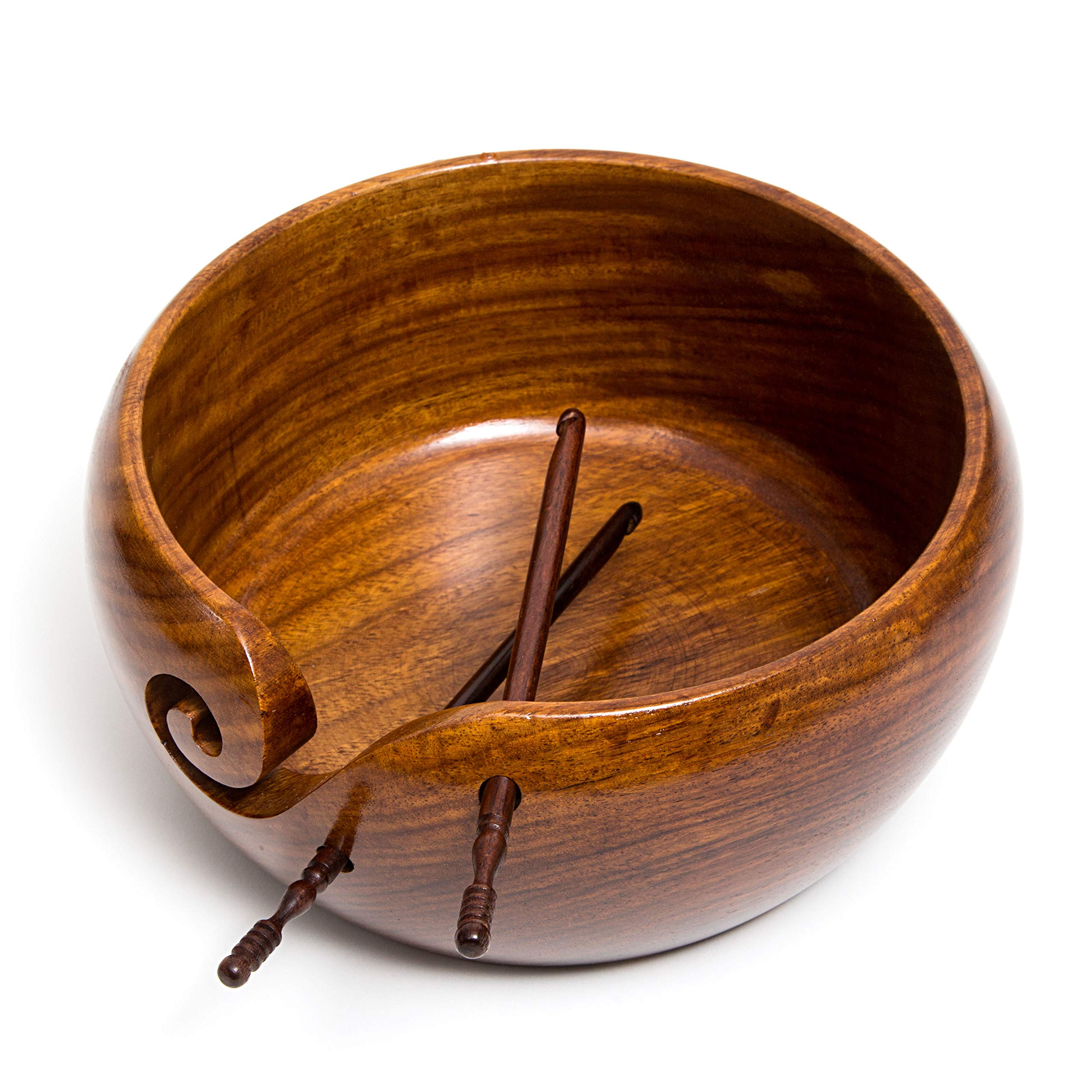 Eunoia Yarn Bowl | Best Handmade Yarn Holder for Knitting | Large Wooden 7'' x 4'' | Extra: Wood Crochet Hook and Travel Bag | by Eunoia (Image #3)