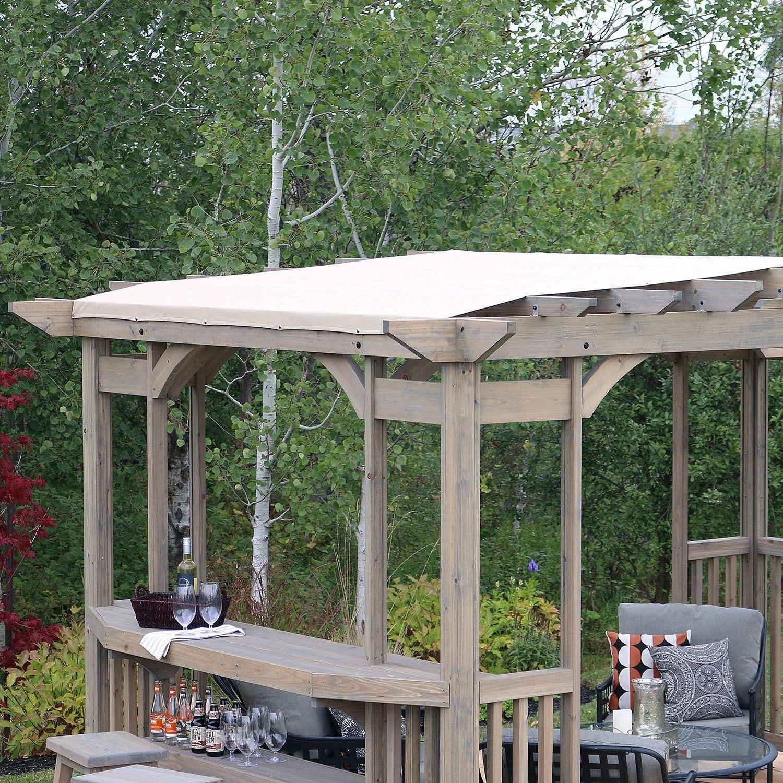 Cedar Pergola Gazebo con contador de barras y parasol en madera ...