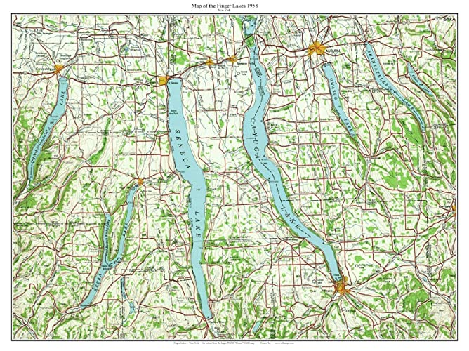 Amazon.com: Finger Lakes - 1958 USGS Old Topographical Map Custom ...
