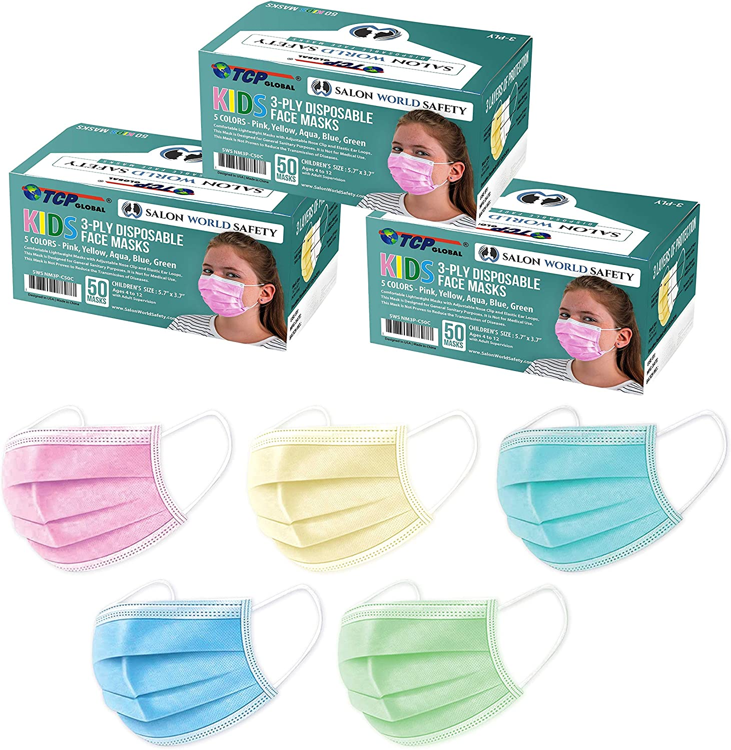 TCP Global Salon World Safety - Kids Face Masks 150 Pk 3-Ply Protective PPE (5 Colors, 30 Each) - -