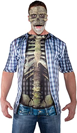 Underwraps Costumes Mens Skeleton with Guts Costume Photo Real Shirt