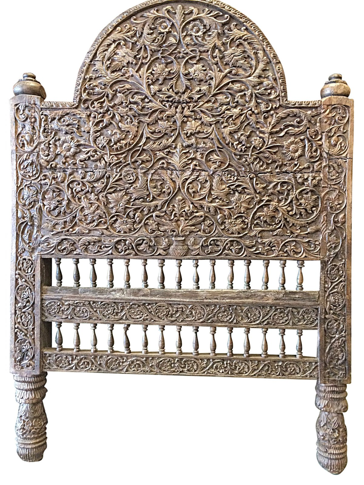Antique Headboard Floral Hand Carved Teak Daybed Diwan India Furniture 18C