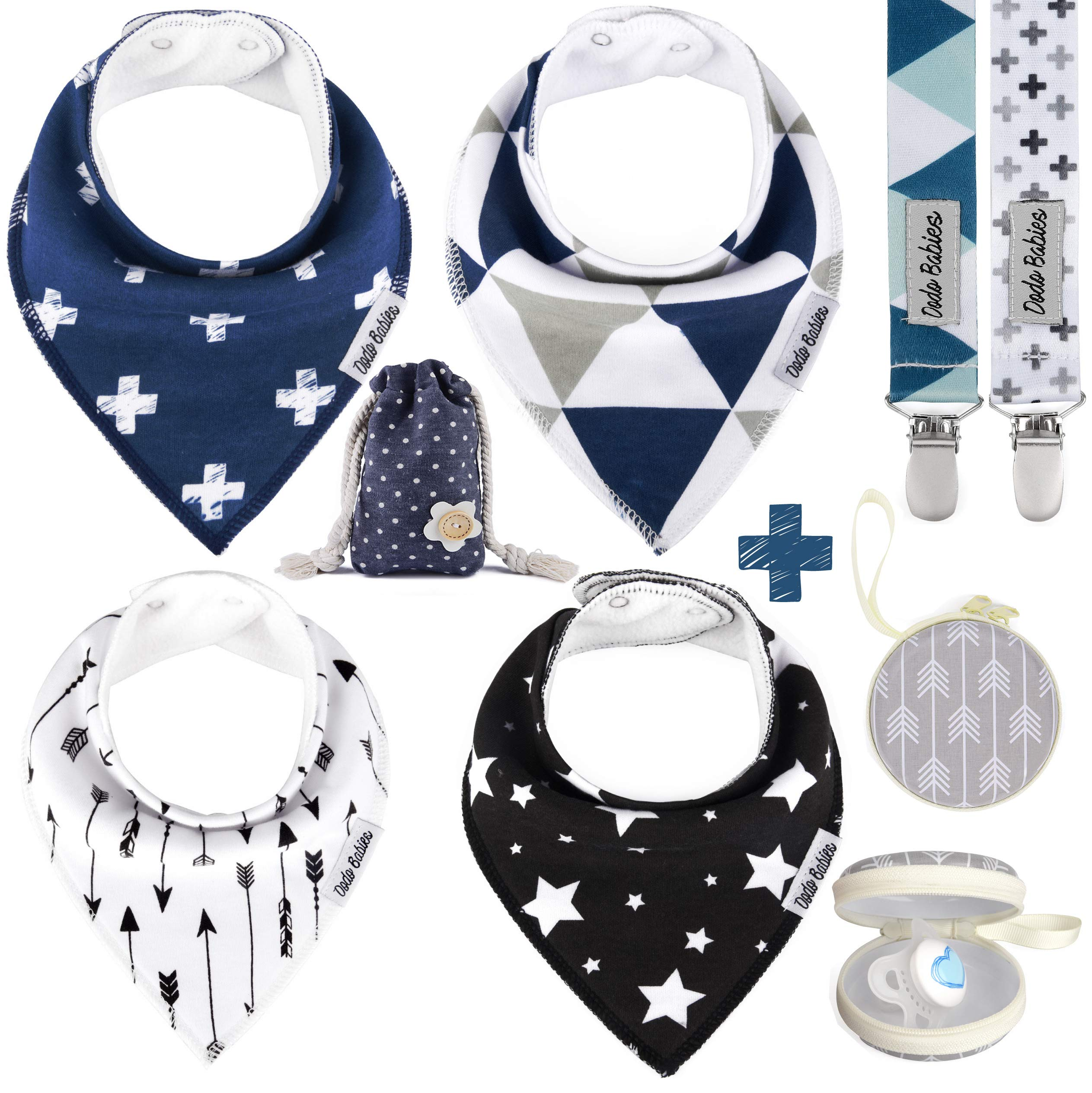 BabyBandana DroolBibs by Dodo Babies + 2 Pacifier Clips + Pacifier Case in a Gift Bag, Pack of 4 Premium Quality for Boys or Girls, Excellent Baby Shower/Registry Gift by Dodo Babies