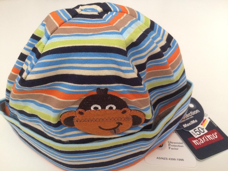 "'Maximo Baby Gorro, niños, olla Gorro, Ringel–Gorro con sobres borde y diseño ""Mono, Color Aguamarina/Sesam/Beige aquamarine/sesam/beige Talla:53"