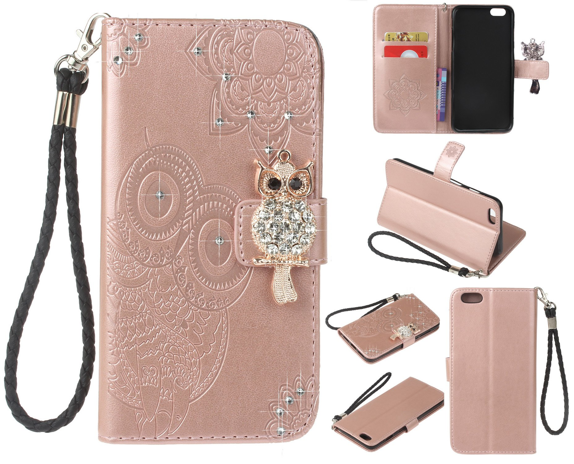 Strap Diamond Wallet Case for iPhone 6/6s 4.7 Inch,Aoucase Luxury 3D Owl Bling Gems Magnetic Cute Mandala Print PU Leather Soft TPU Stand Flip Case with Black Dual-use Pen - Rose Gold by Aoucase