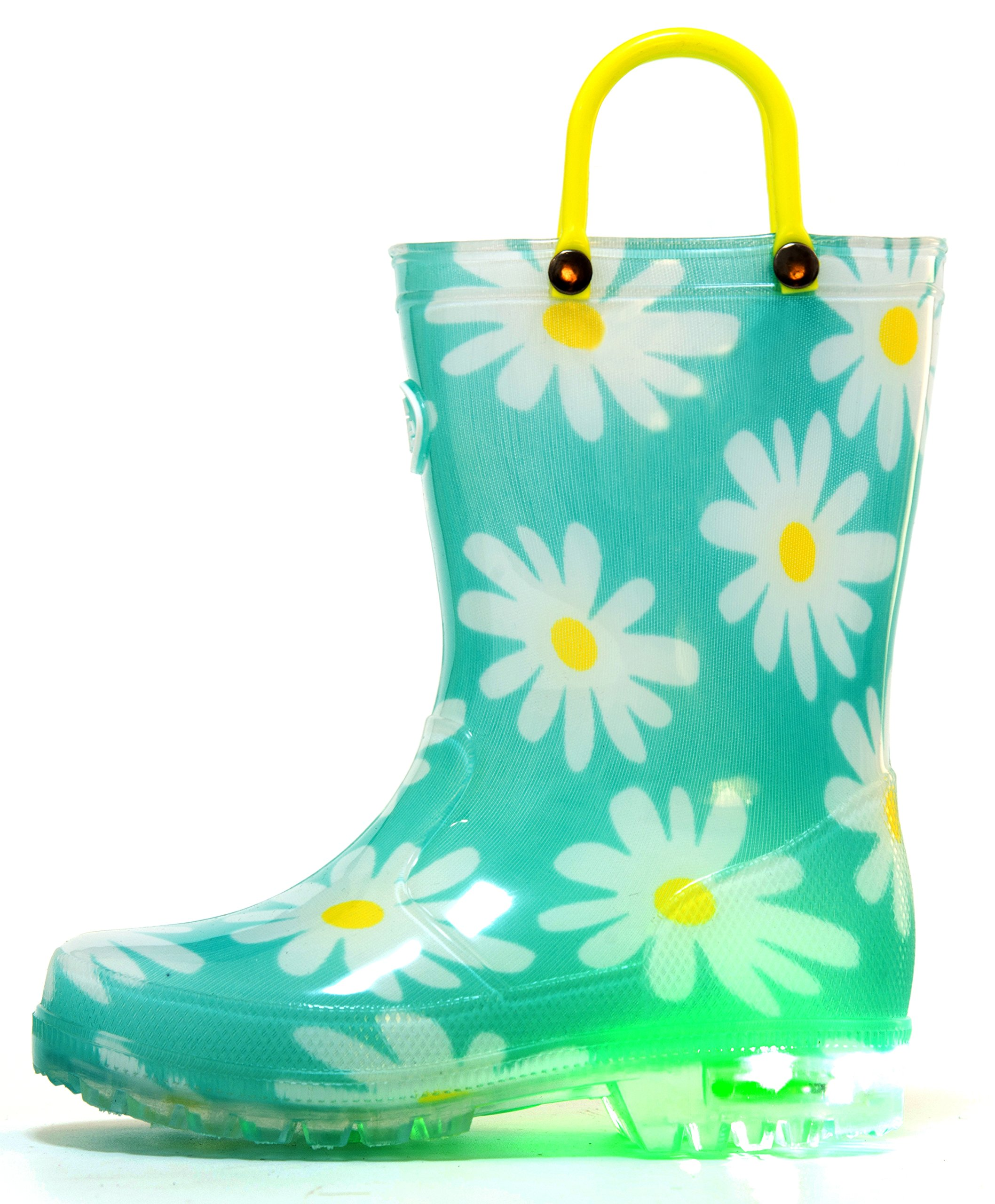 Outee Girls Kids Rain Boots Light Up Waterproof Lightweight Flower Aqua Cute Lovely Funny Print with Easy-On Handles Classic Comfortable (Size 3,Flower)