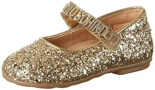 Promozione delle vendite nuovo autentico bambino Moschino 25965 Glitter Oro, Ballerine Punta Chiusa Bambina ...