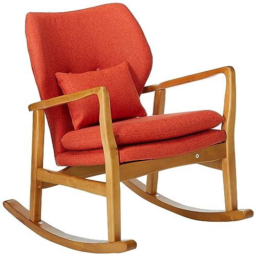 Christopher Knight Home 302097 Balen Mid Century Modern Fabric Rocking Chair Muted Orange