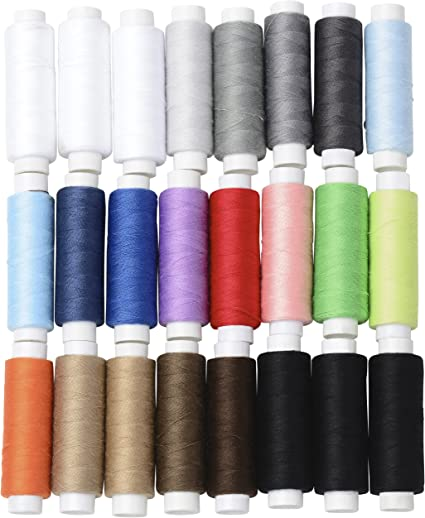 24 Assorted Colors Polyester Sewing Thread Spool 1000 Yards Each