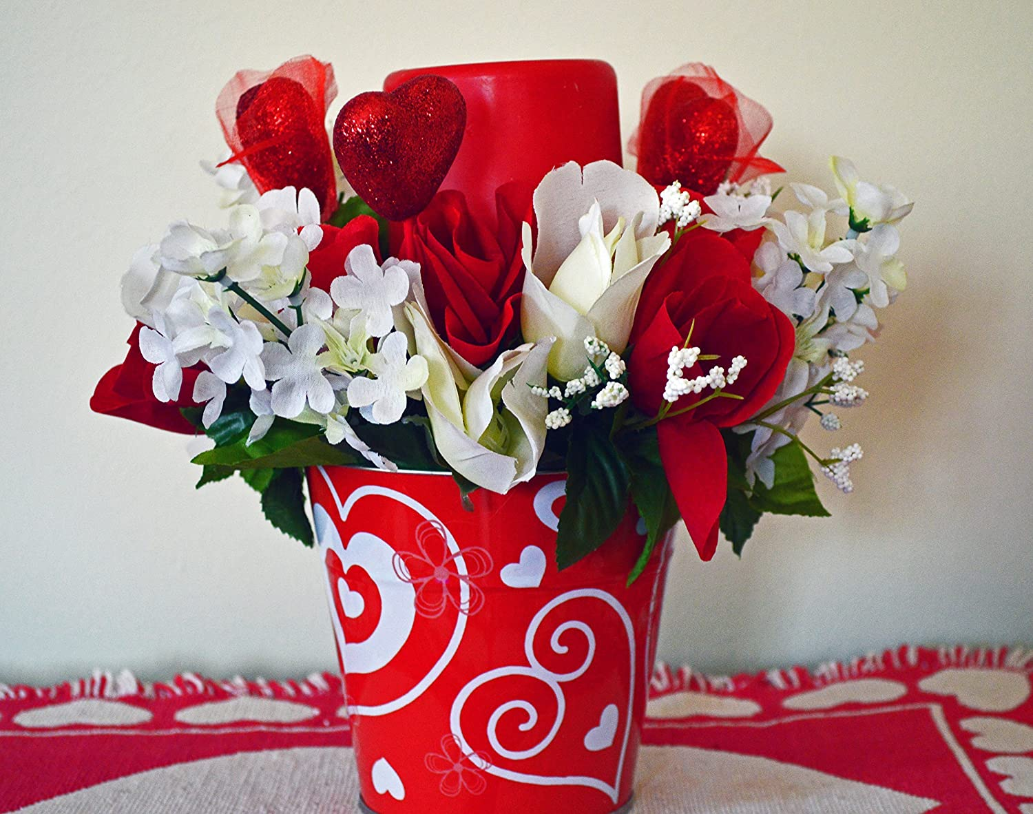 Amazon Com Valentine Day Decor Floral Arrangement Led Candle Table Decoration Valentines Gift Roses Valentine Pail Red Pail Ready To Ship Handmade