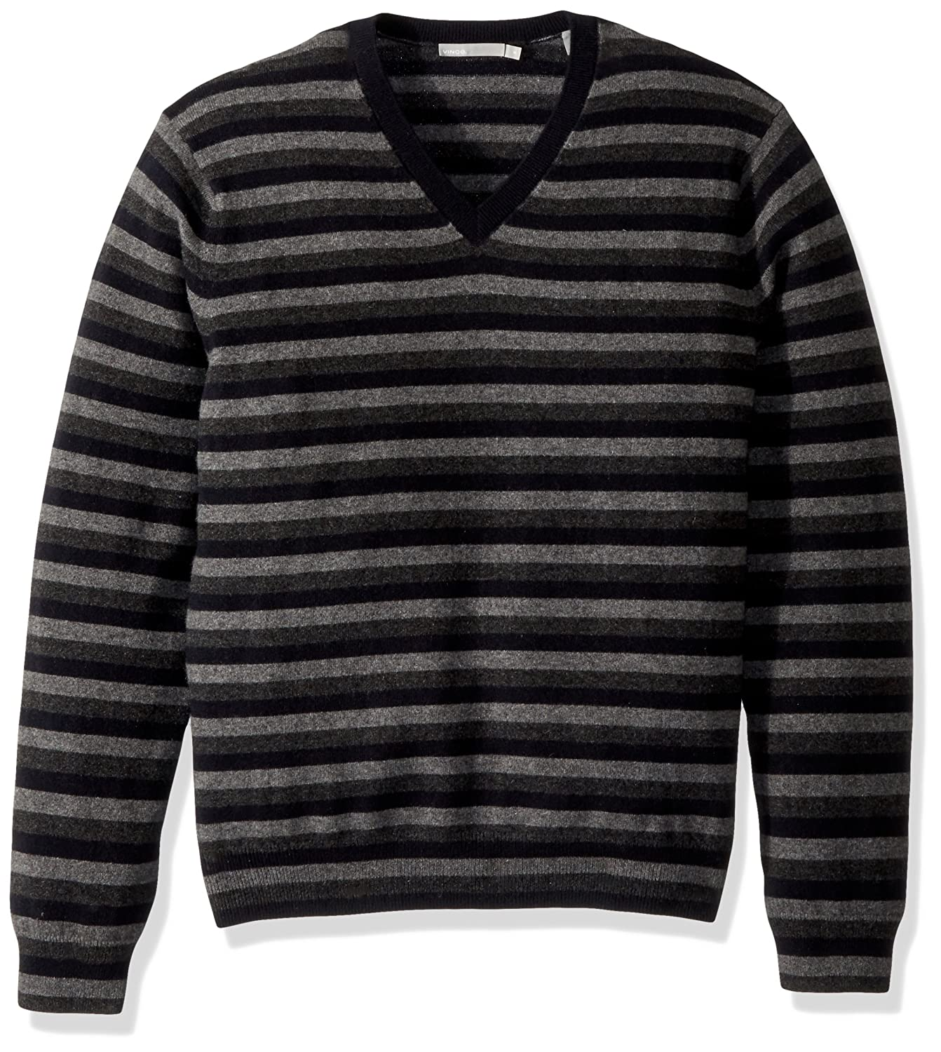 67bbd5f5439d Amazon.com: Vince Men's Striped Cashmere V-Neck Sweater: Clothing