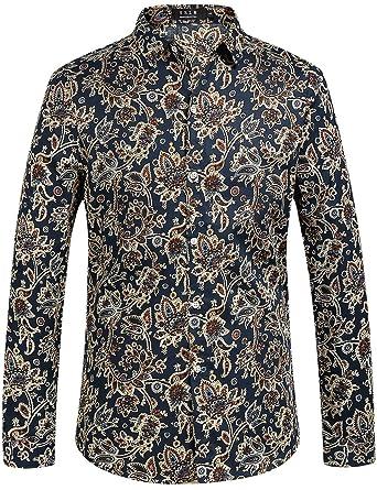 SSLR Men's Paisley Printed Regular Fit Casual Long Sleeve Shirt at ...