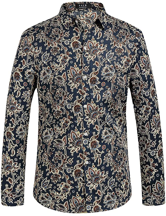 1960s – 70s Mens Shirts- Disco Shirts, Hippie Shirts SSLR Mens Paisley Printed Regular Fit Casual Long Sleeve Shirt $26.00 AT vintagedancer.com