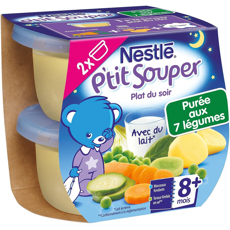 Nestlé Bébé P'tit Souper Purée du Soir aux 7 Légumes - Plat Légumes et féculents dès 8 mois - 2 x 200g - Lot de 8 7613032725907