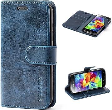 Mulbess Funda Samsung Galaxy S5 Mini [Libro Caso Cubierta] [Vintage de Billetera Cuero de la PU] con Tapa Magnética Carcasa para Samsung Galaxy S5 Mini Case, Azul Marino: Amazon.es: Electrónica