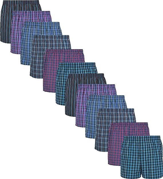 MC.TAM® - Calzoncillos tipo bóxer para hombre, 100% algodón tejido, pack de 6 y 12 unidades Pack de 12 unidades. XXXL: Amazon.es: Ropa y accesorios