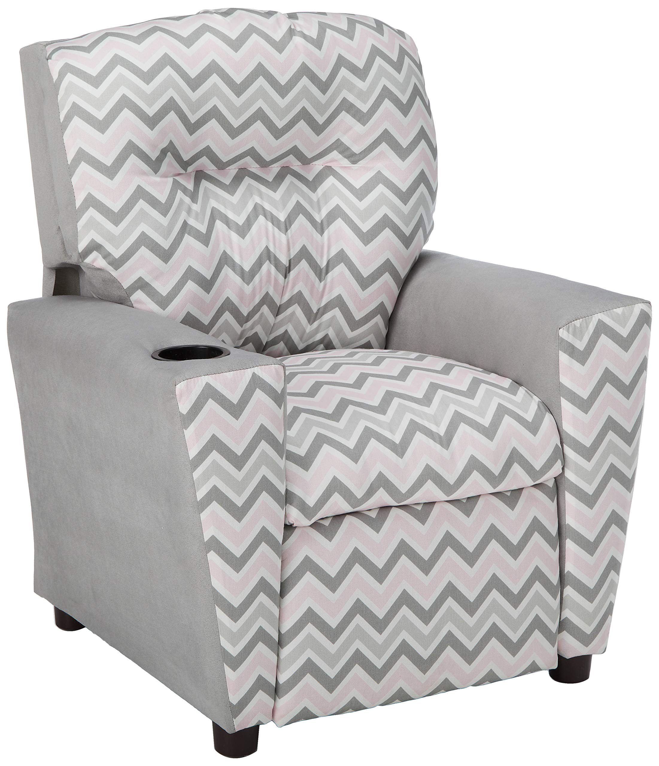 Kidz World Zoom Zoom Bella Storm Kid's Recliner with Cup Holder, Silver Suede by Kidz World