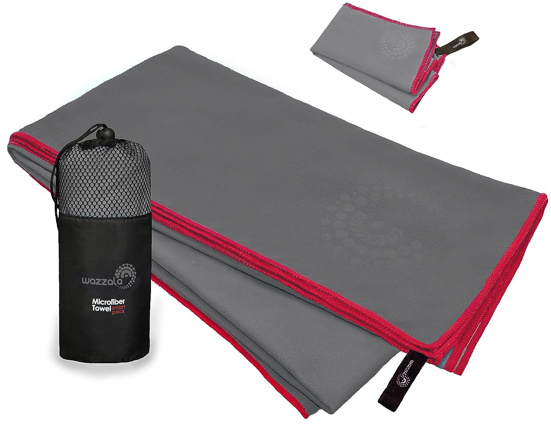 PREMIUM toalla de microfibra para viajar, Sports & Outdoors + Free Bolsa de mano/de toalla para rostro y malla. Antibacteriano, de secado rápido, Compact.